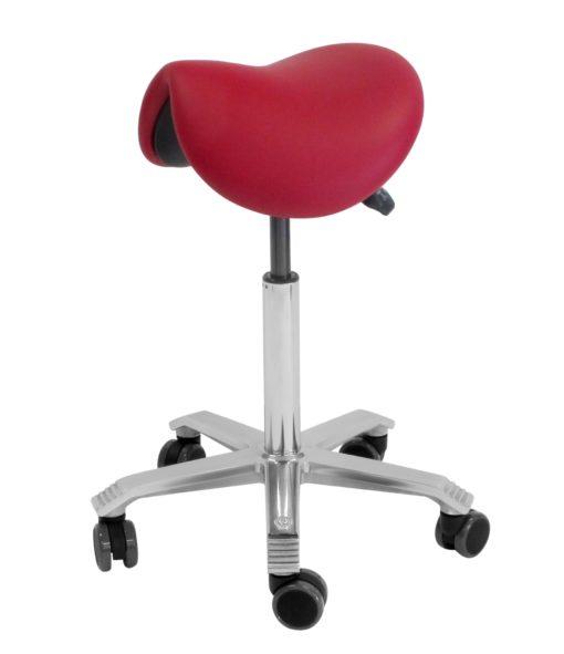 Side angle view of saddle stool