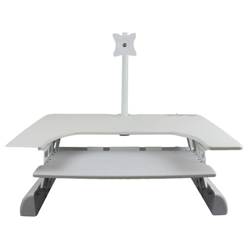Front view of uplifter portable sit-stand workstation