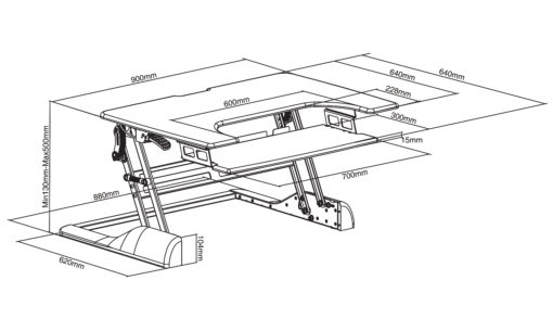 Dimensions of portable sit-stand workstation