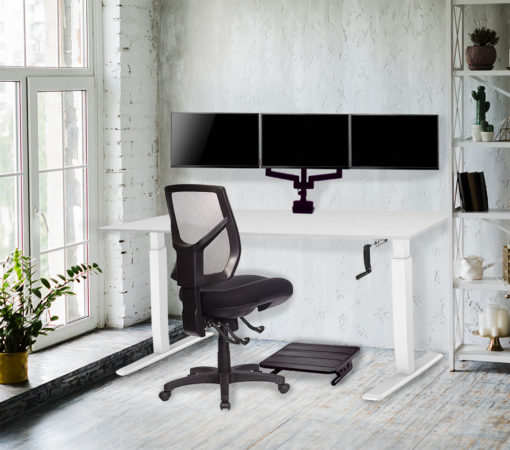 Home office with chair, monitor arm and footrest