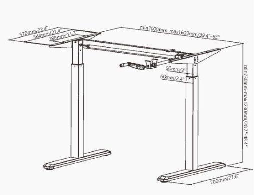 Lima HC Desk Frame dim