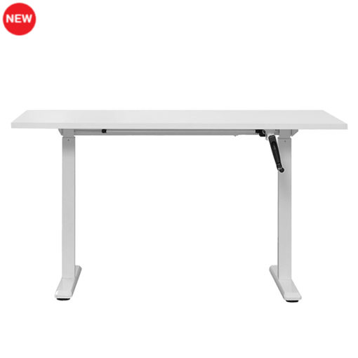 White height adjustable sit-stand desk