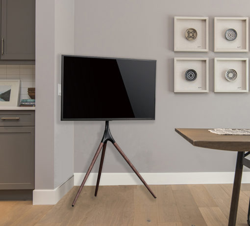 TV with tripod easel on the living room