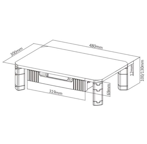 Upriser Monitor Stand dimentions