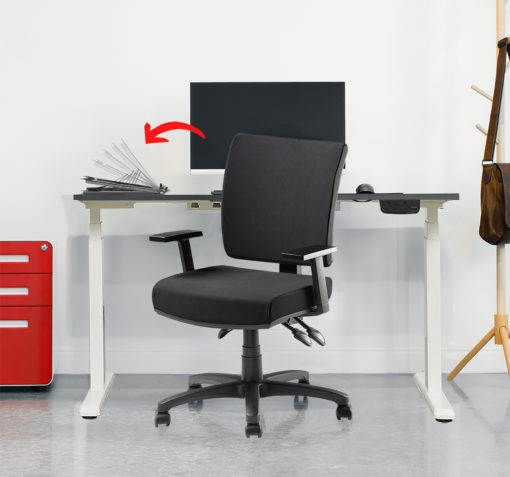 Scorpio chair with sierra desk and flik laptop riser