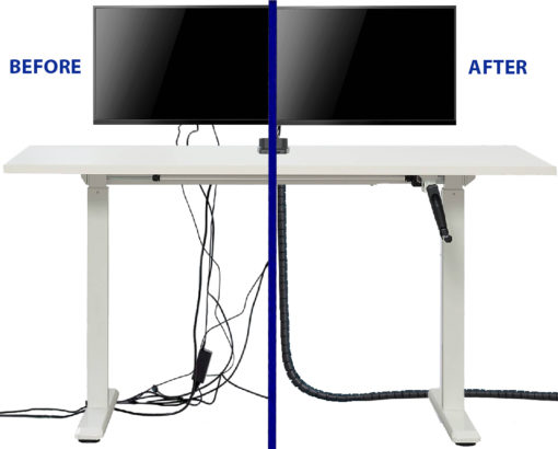 Uplifting Zip Spiral Cable Tidy before and after