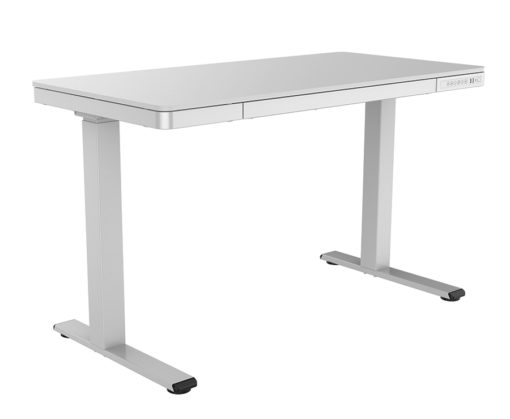 Electric desk with storage drawer angle 1