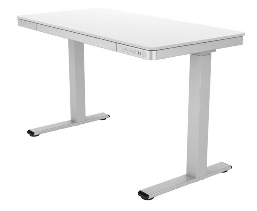 Electric desk with storage drawer angle 2
