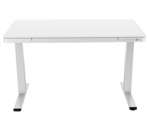 Electric desk with storage drawer front