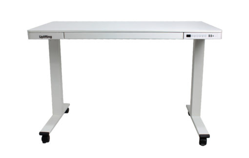 Electric desk with storage front with castors
