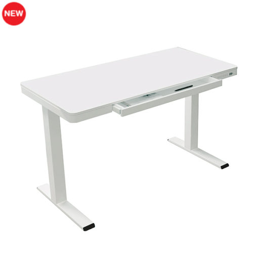 Electric height adjustable desk with drawer