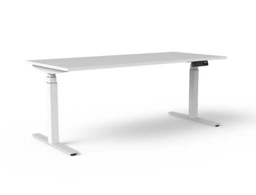 White TiMotion Electric Sit-Stand Desk