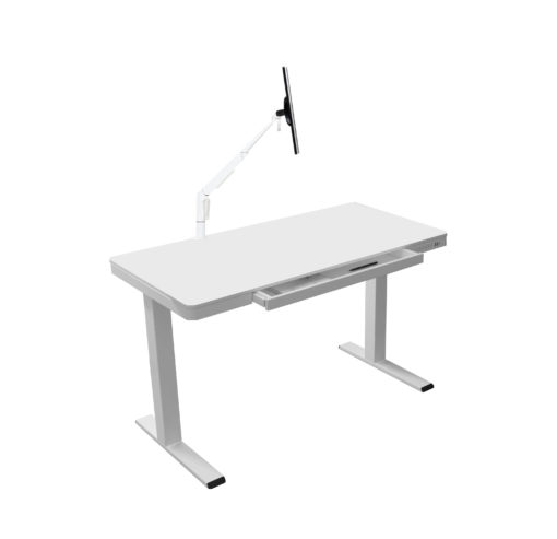 Electric sit-stand desk with monitor arm